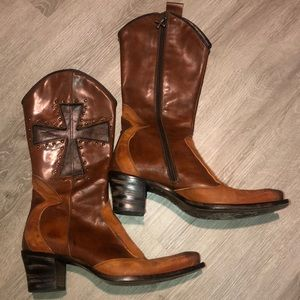 Mark Nason Genuine Leather Boots with cross design